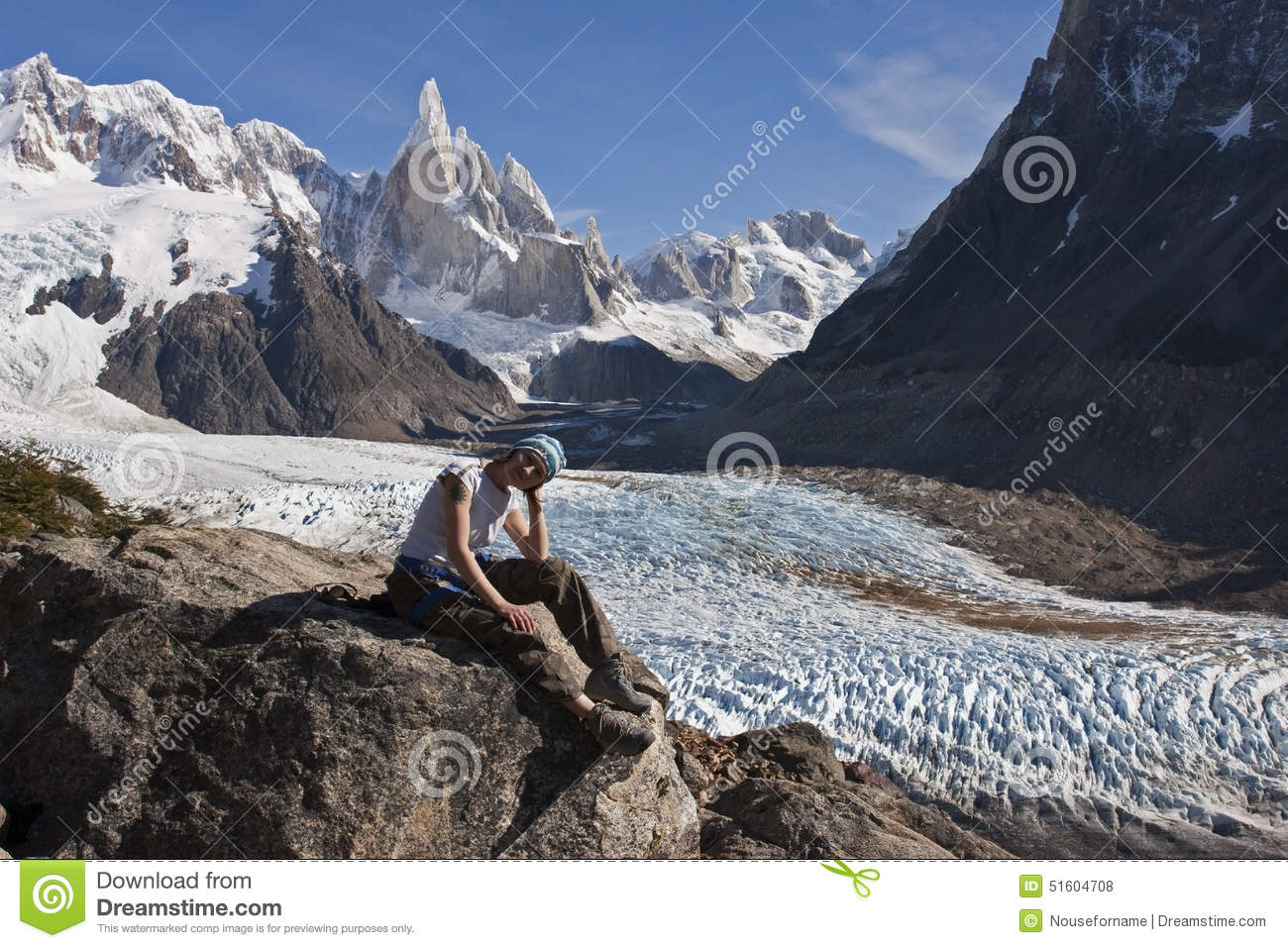 To Cerro Torre Glacier, Patagonia, Argentina Stock Photo.