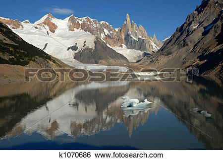 Stock Images of Mount Cerro Torre from lake Torre k1070686.