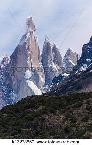 Stock Photography of Cerro Torre from trekking road heading to the.