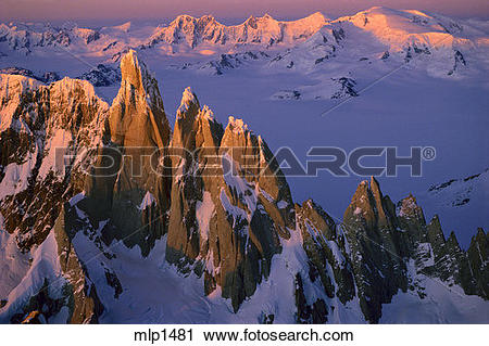 Stock Photography of Cerro Torre from the summit of Fitz Roy.
