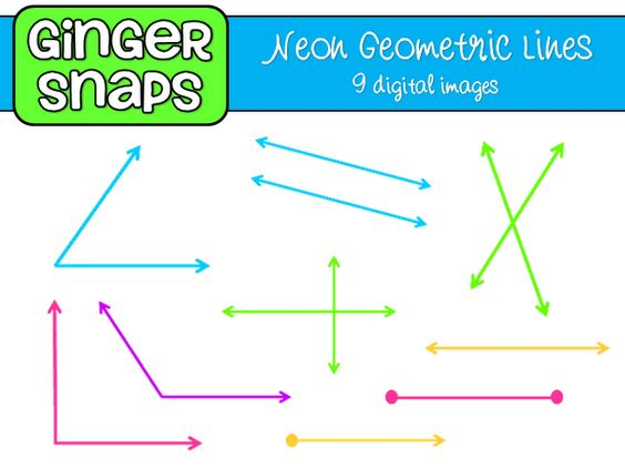 Neon Geometric Lines and Angles clip art.