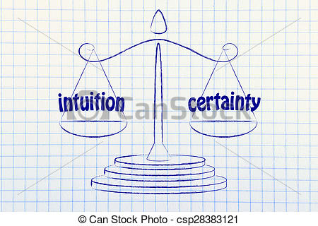 Clip Art of balance metaphorically comparing intuition and.