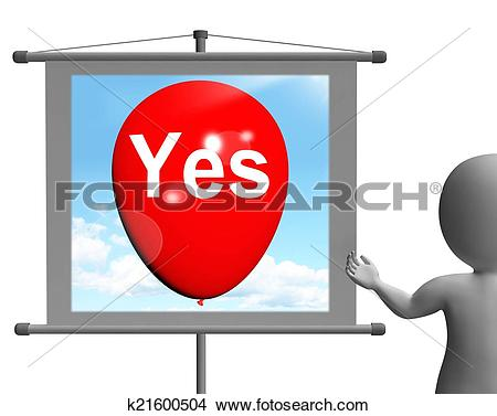 Stock Photo of Yes Sign Means Affirmative Approval and Certainty.