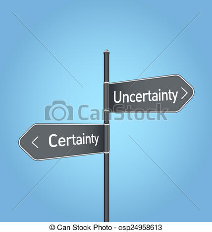 Clipart of Uncertainty vs certainty choice road sign on blue.