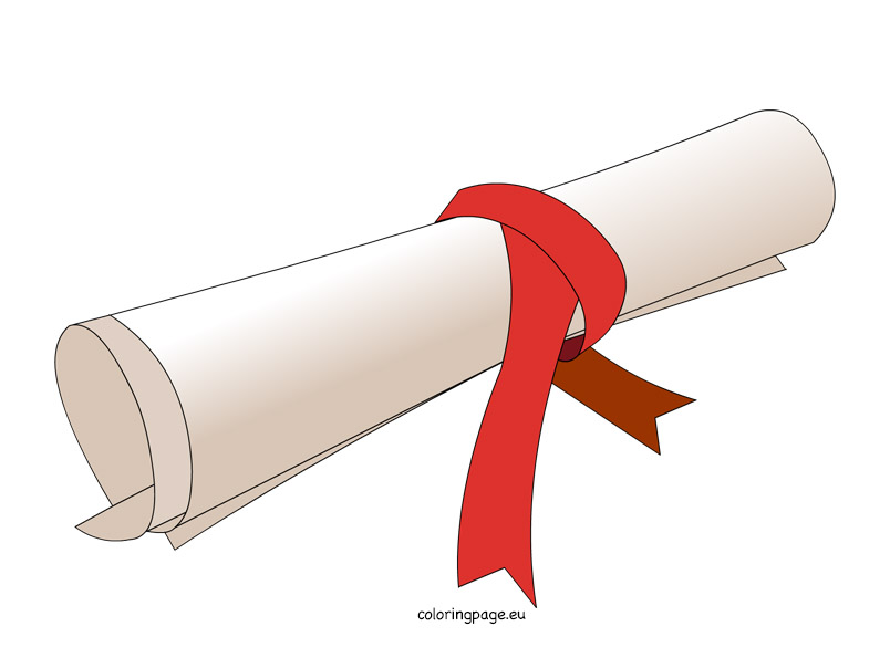Rolled certificate clipart.