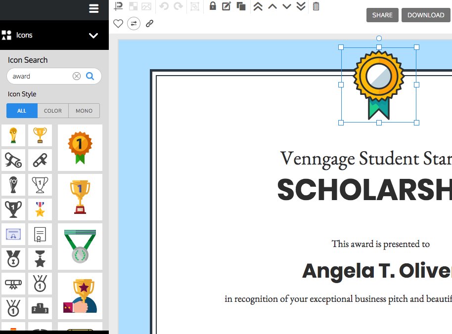 Venngage, the Online Certificate Maker.
