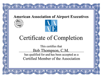 American Association of Airport, Executives Certificate Frame.