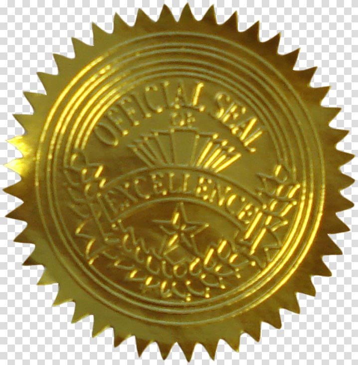 Official Seal of Excellence logo, Seal Gold Sticker Paper.