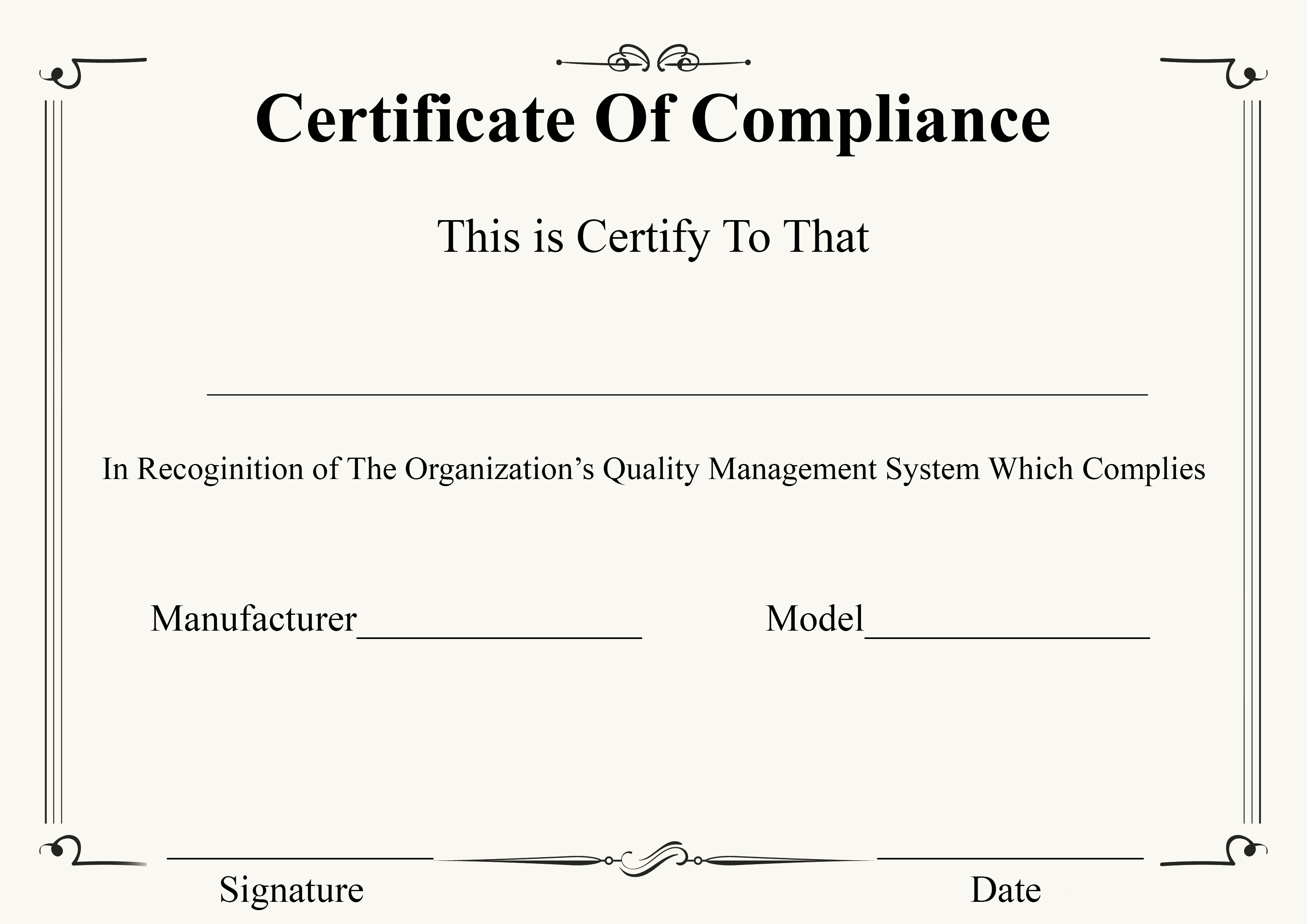 4+ Free Certificate of Compliance Templates.