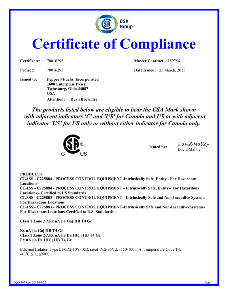 Certificate of Compliance.