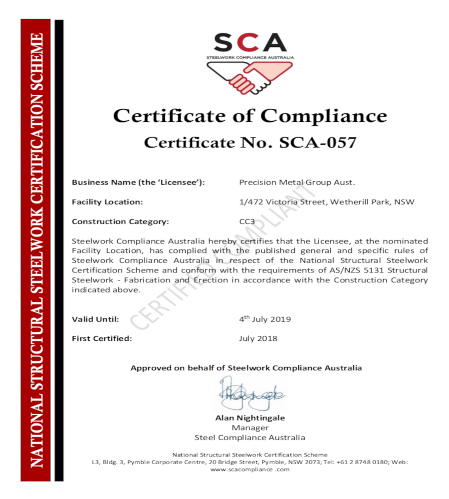 Congrats on Certificate of Compliance for Structural steel work.