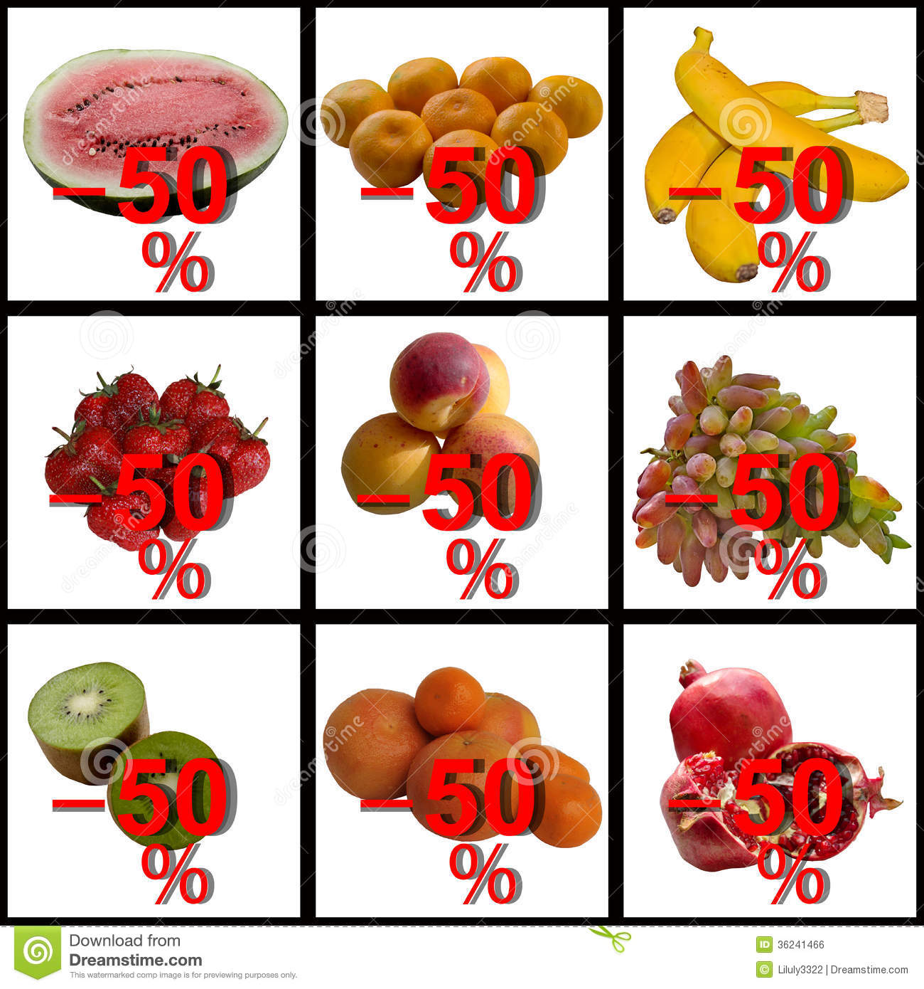 Fruit Collection Of Discounts. Royalty Free Stock Image.