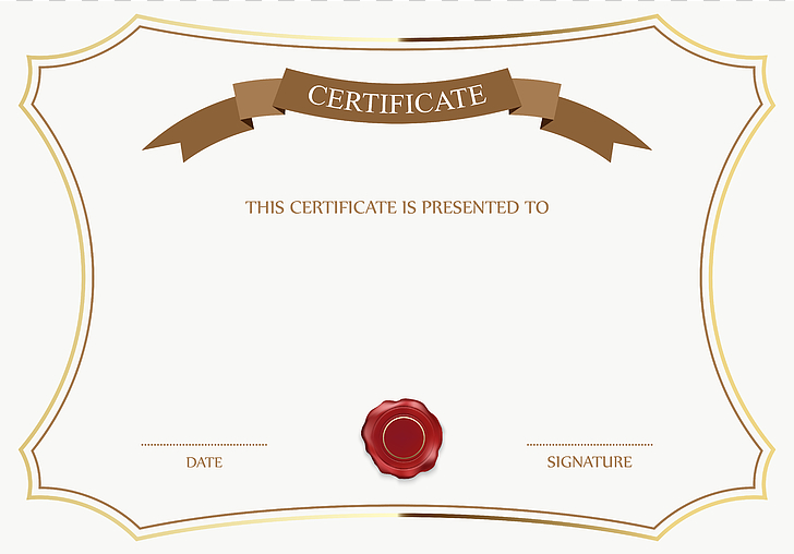 Template Academic certificate , White and Brown Certificate.