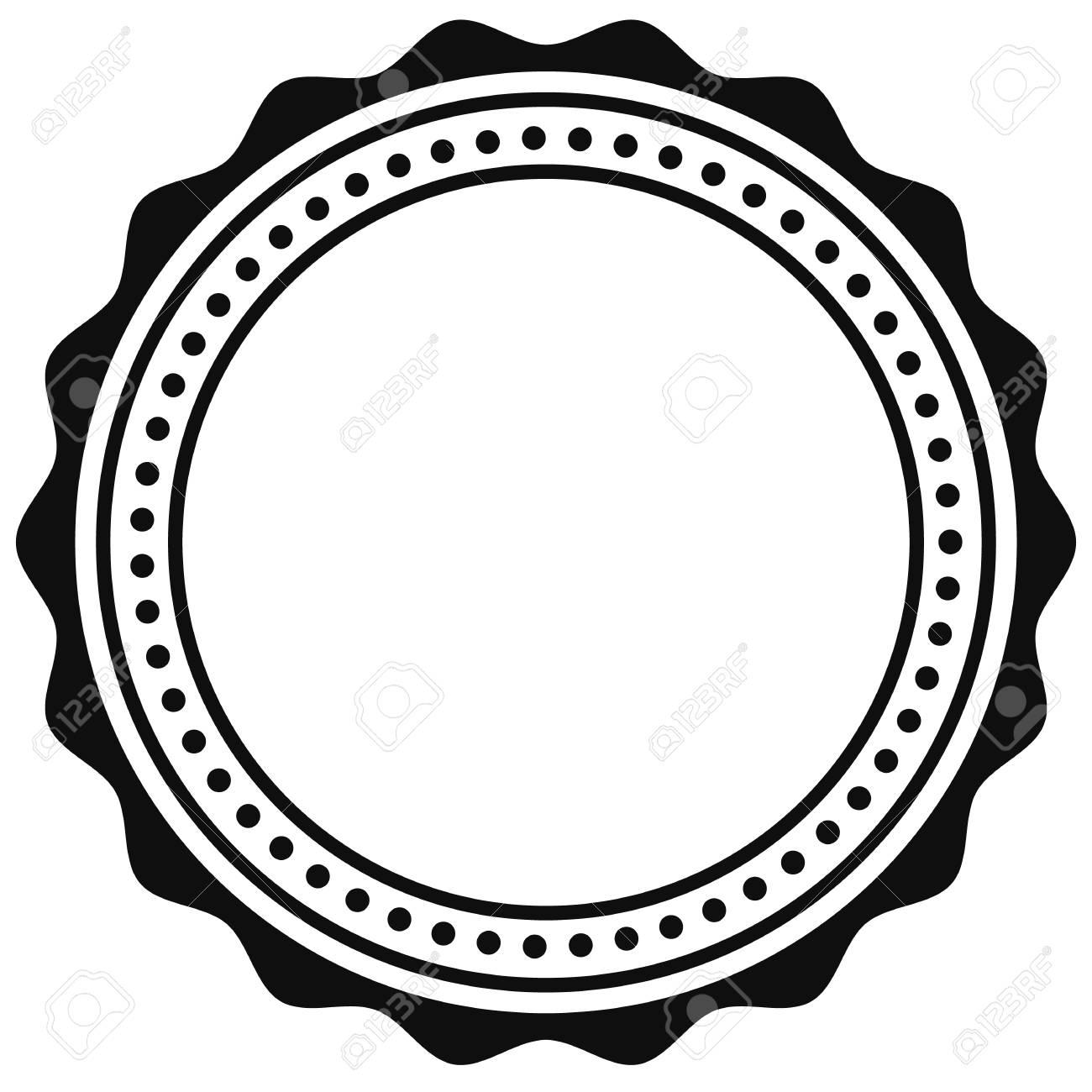 Badge, seal element. Contour of circular certificate, medal.