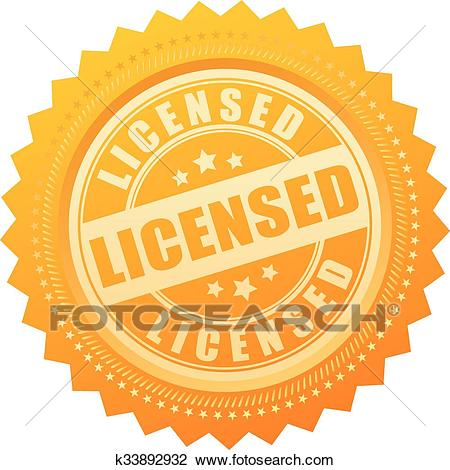 Licensed gold seal certificate Clipart.