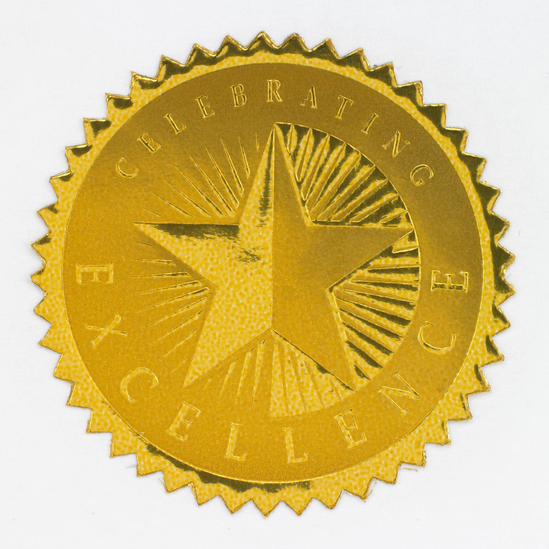 Celebrating Excellence Gold Foil Certificate Seals.