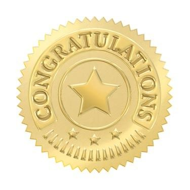 32 Gold embossed congratulations certificate award seal stickers.