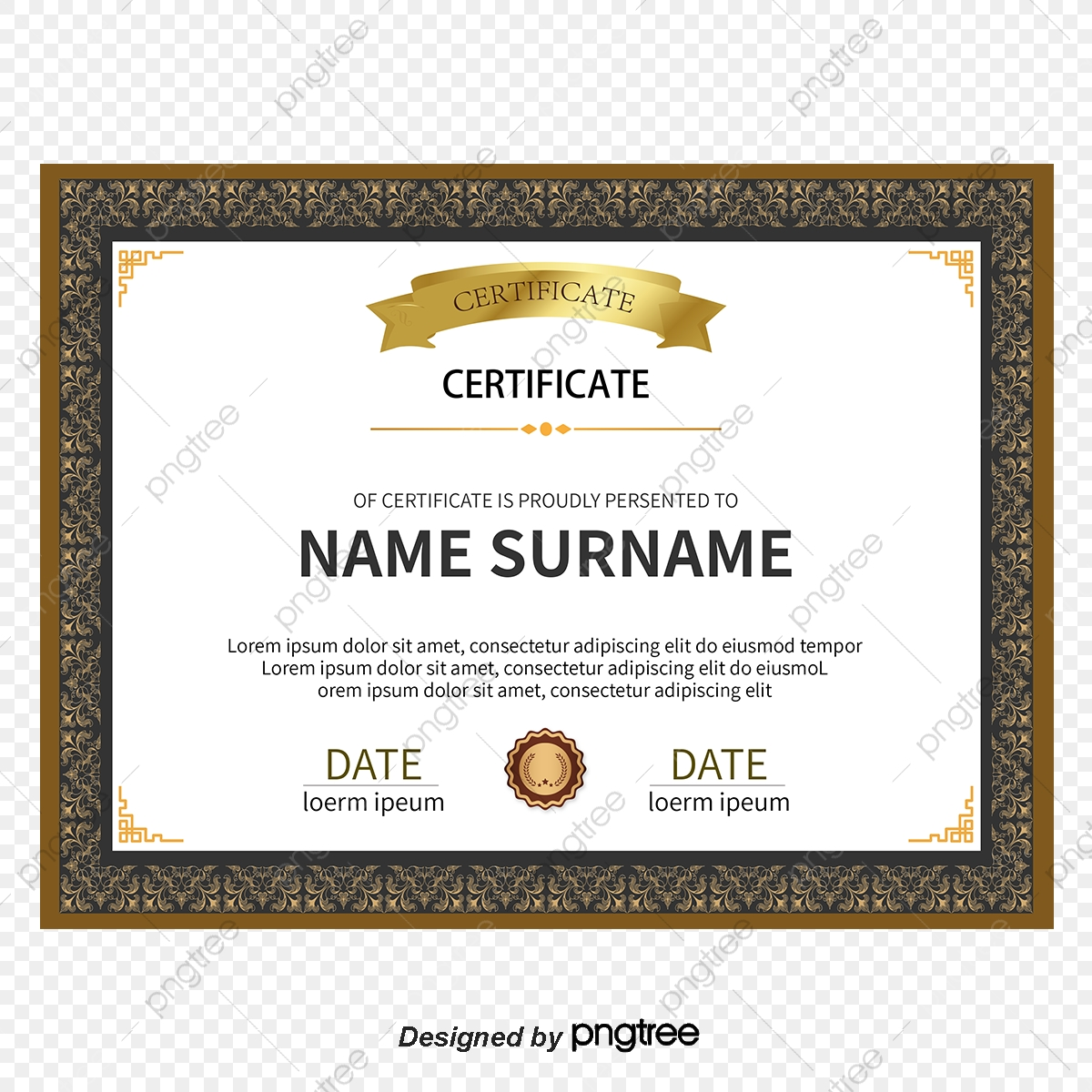 Commendation Certificates Vector, Certificate, Continental Simple.