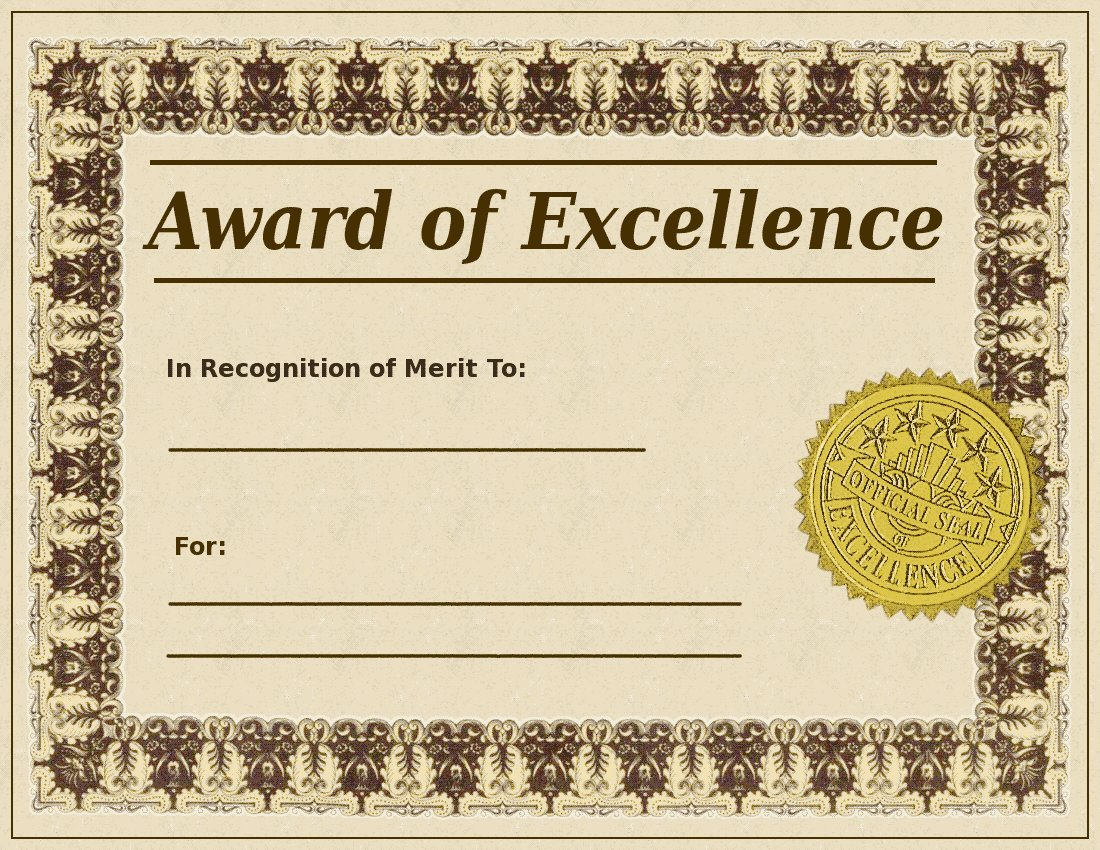 Blank Award Certificate Templates.