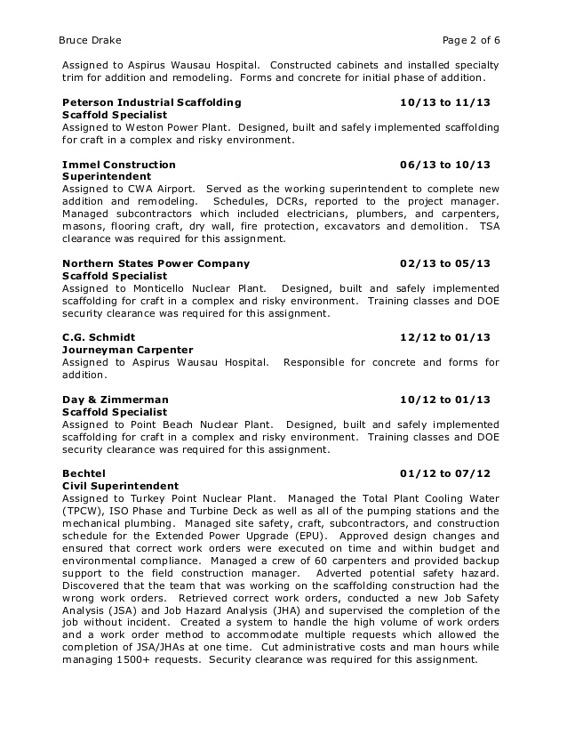 Bruce Drake Resume and Certifications.
