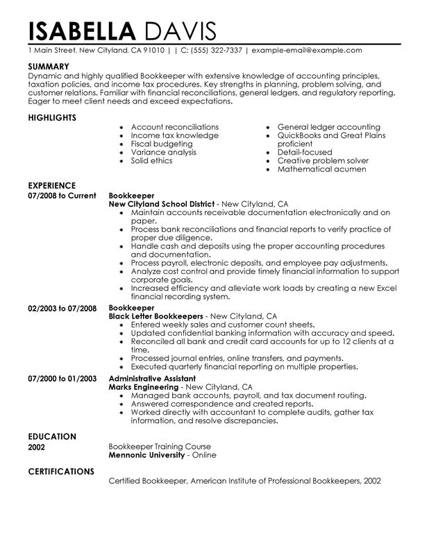 Unforgettable Bookkeeper Resume Examples to Stand Out.