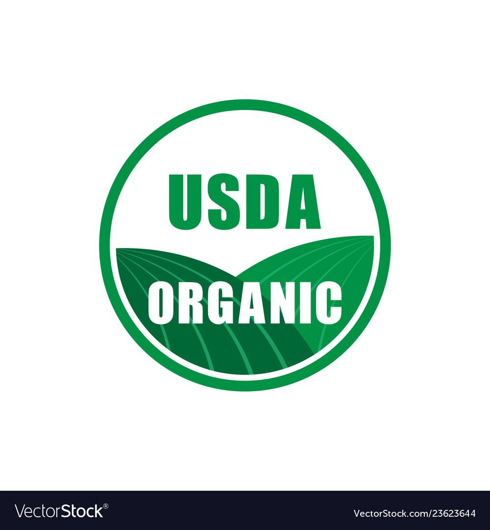 Usda organic certified stamp symbol no gmo icon.