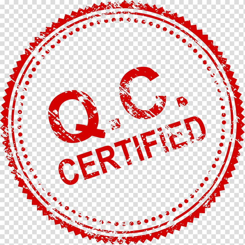 Q.C. certified logo, Rubber stamp, Seal transparent.