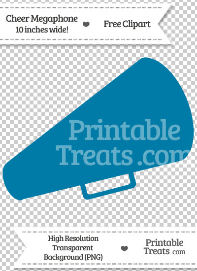 Cerulean Blue Cheer Megaphone Clipart — Printable Treats.com.