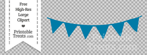 Cerulean Blue Pennant Bunting Banner Clipart — Printable Treats.com.