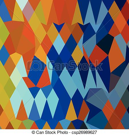 Vector Illustration of Cerulean Blue Harvest Gold Abstract Low.