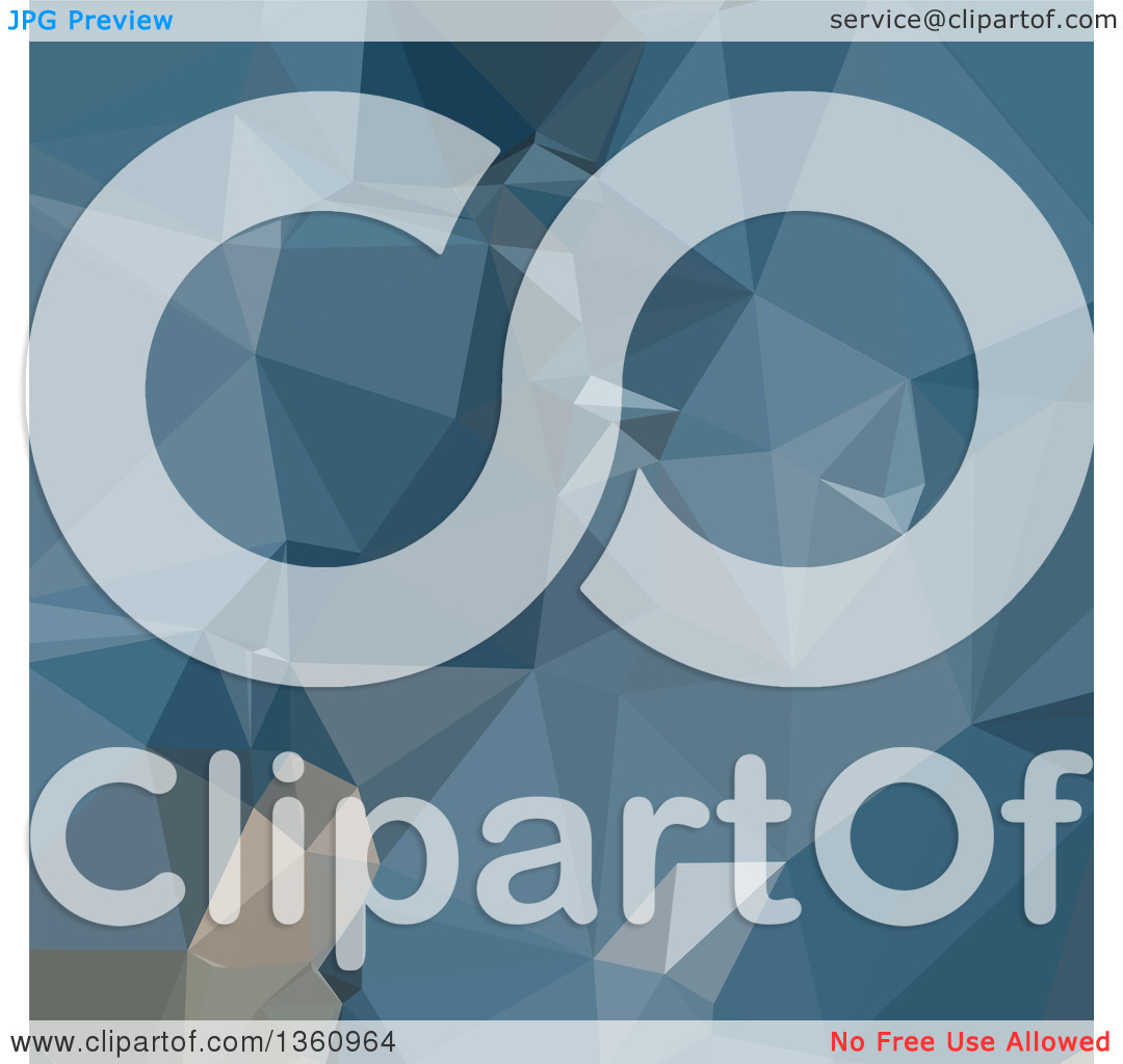 Clipart of a Cerulean Frost Blue Low Poly Abstract Geometric.
