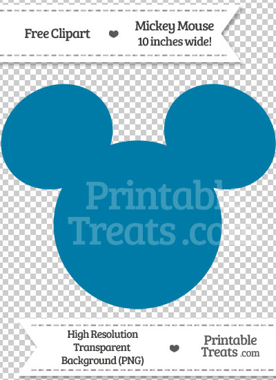 Cerulean Blue Mickey Mouse Head Clipart — Printable Treats.com.