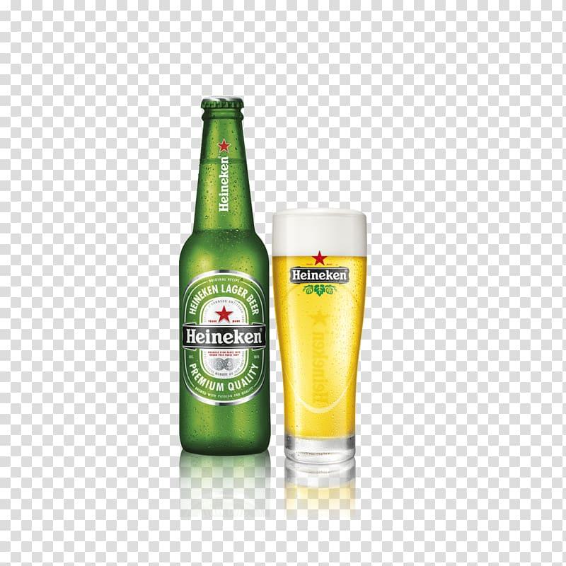 Heineken beer bottle and glass, Pale lager Heineken.