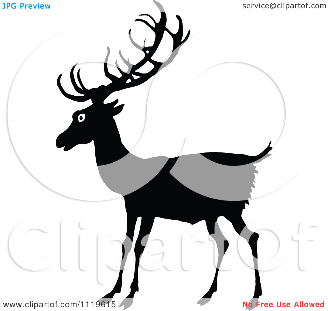 Clipart Of A Retro Vintage Black And White Deer.