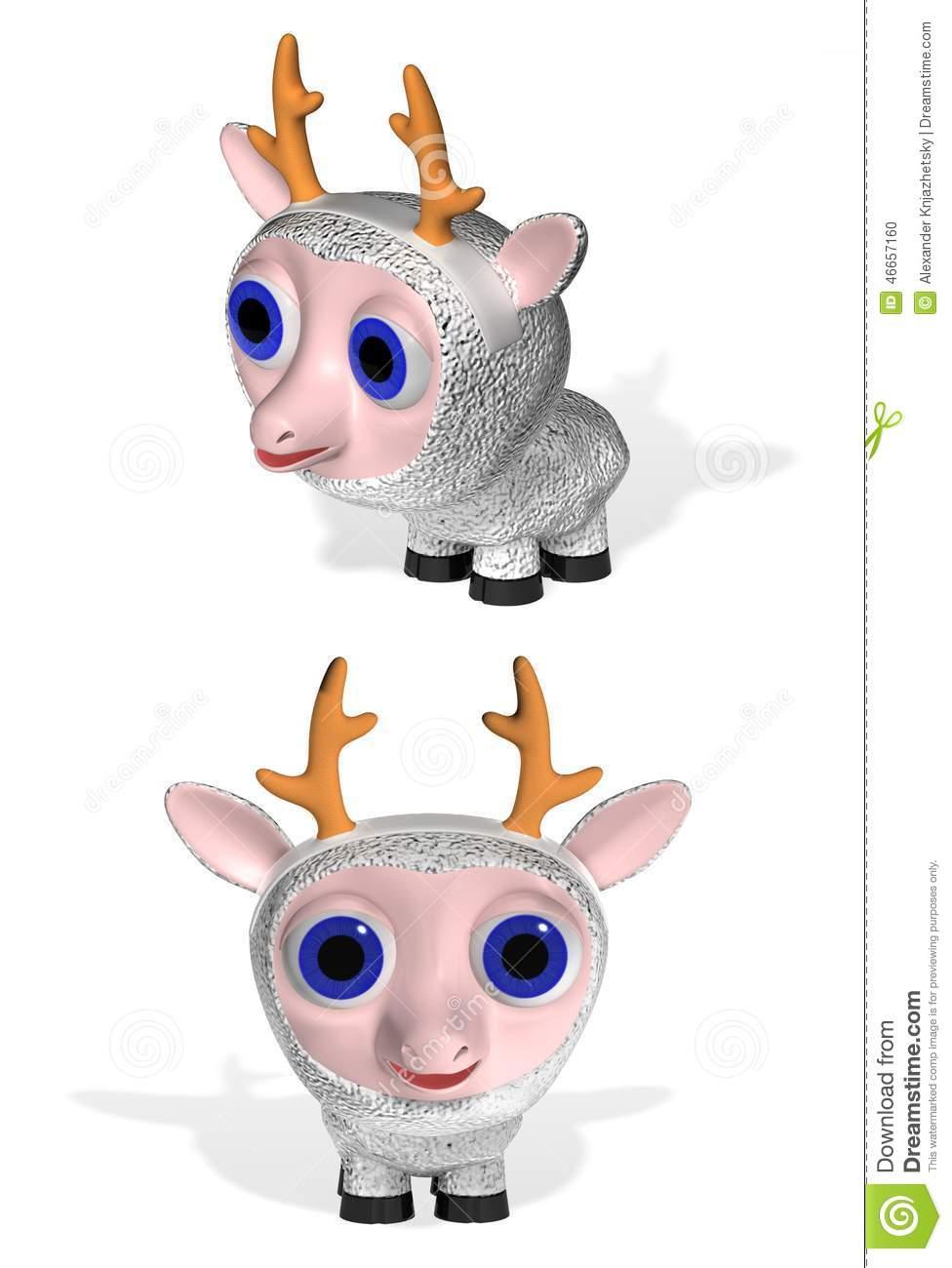 Ewe With Cervine Horns Stock Illustration.