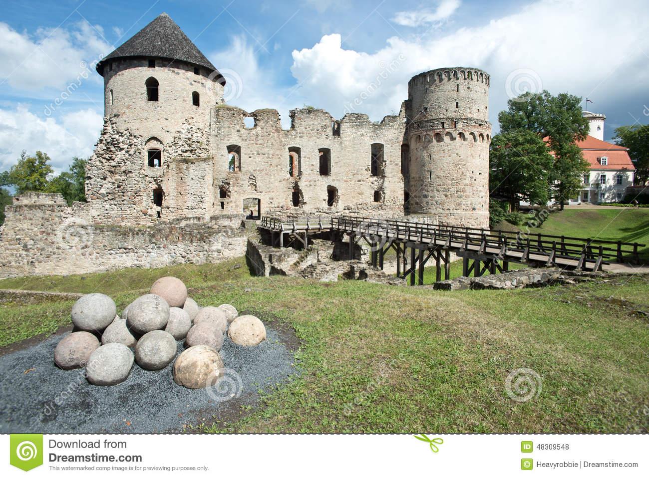 Cesis Castle Stock Photo.