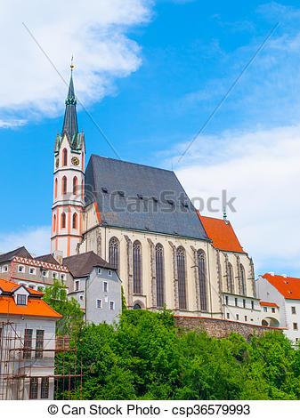 Stock Photographs of St. Vitus Church in Cesky Krumlov, Czech.