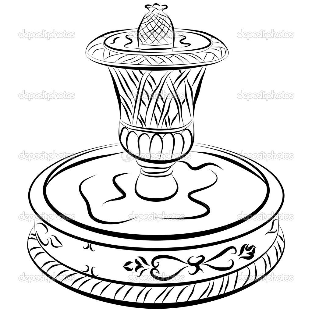 Viktorya dönemi su çeşme çizgi çizme — Stok Vektör © cteconsulting.