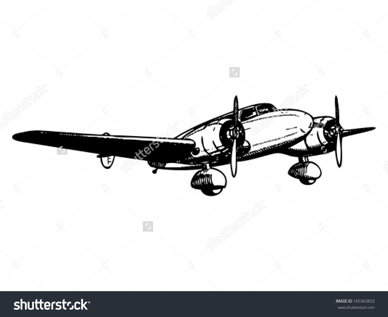 Twin Engine Passenger Plane Vintage Style Stock Vector 165363833.