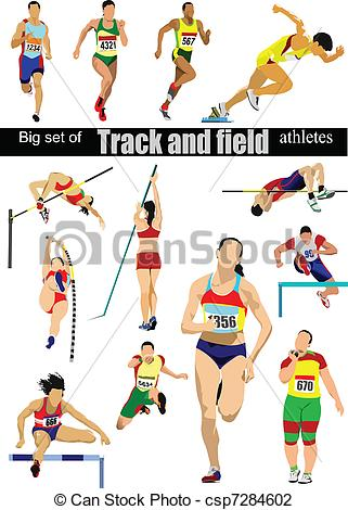 Vector Illustration of Big cet of Track and field athlete.