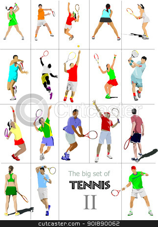 Big cet # II of tennis players. Colored Vector illustration for.