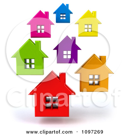 3 D Houses Clipart.