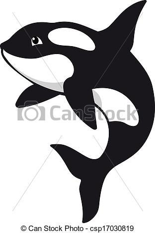 Vector Clip Art of Killer whale in cartoon style. Vector.