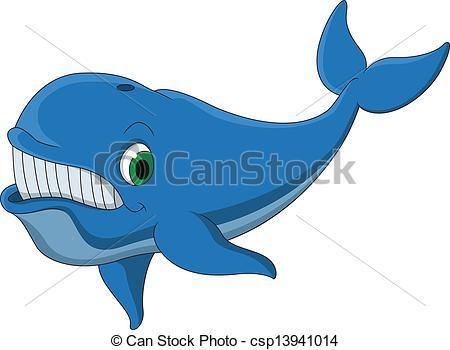 Vector Clip Art of cute blue whale cartoon.