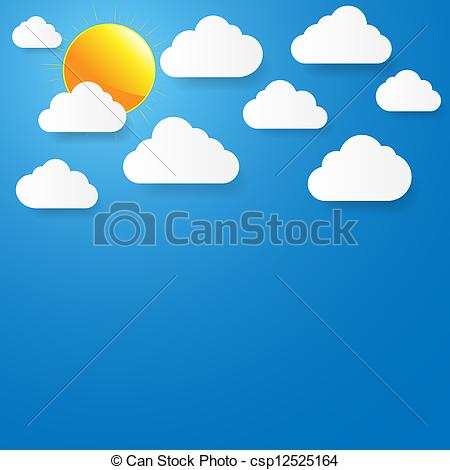 Clip Art Vector of Blue sky with paper clouds and sun. Vector.