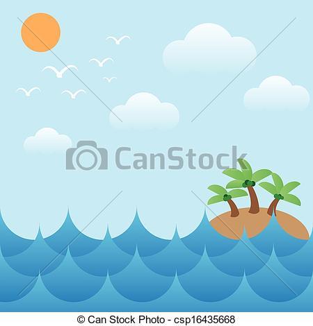 Clip Art Vector of island in sea waves,sun,sky and cloud.