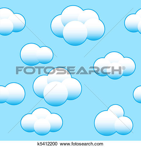 Clipart of Blue sky with clouds repeating pattern k13304224.