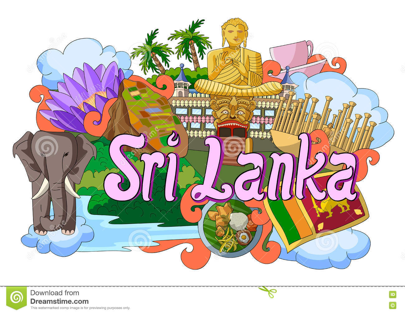 Doodle Showing Architecture And Culture Of Sri Lanka Stock Vector.