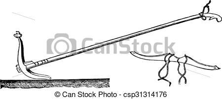 Vectors Illustration of Ceylon with his plow yoke, vintage.