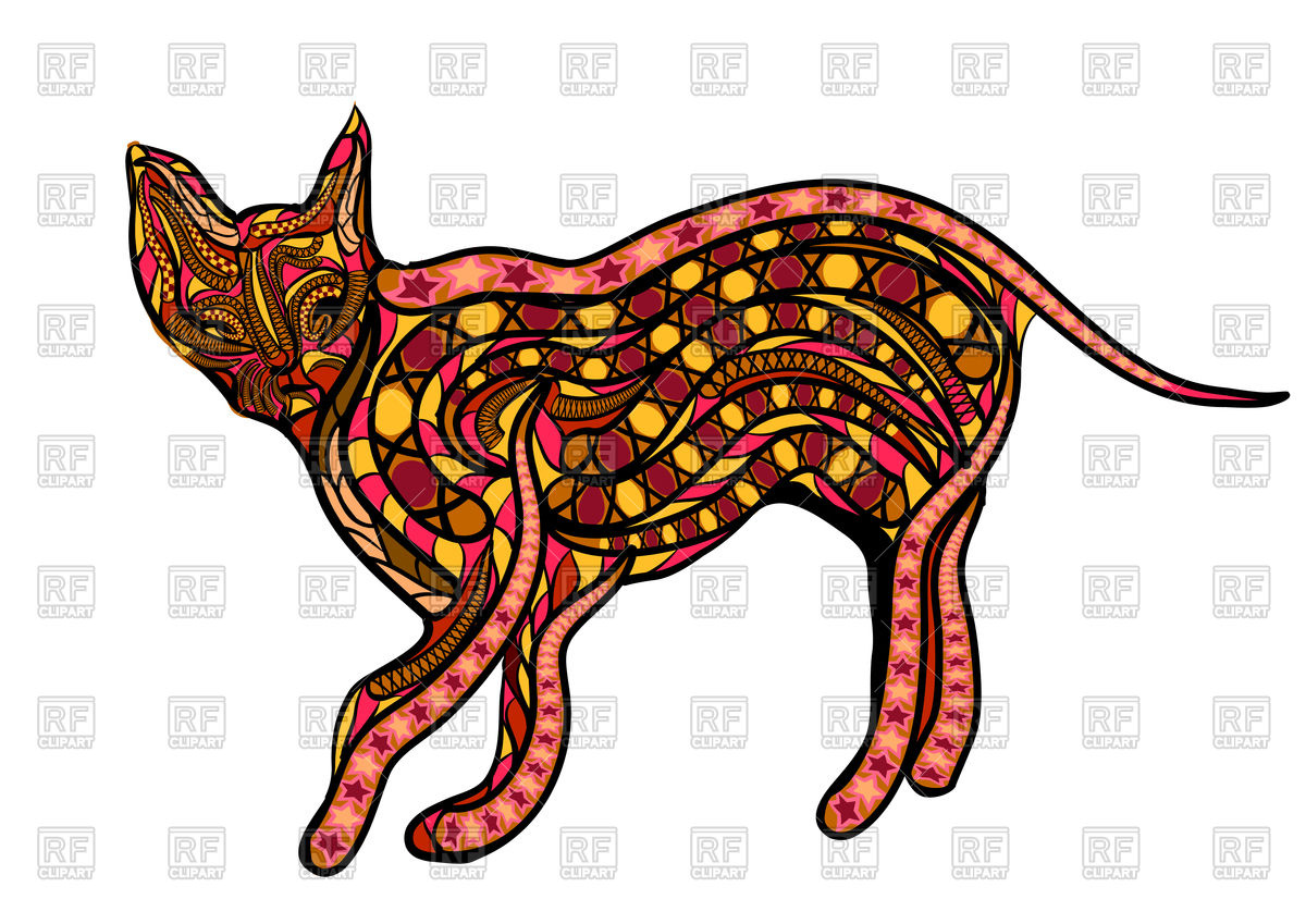 Ceylon cat covered with ethnic ornament Vector Image #106573.